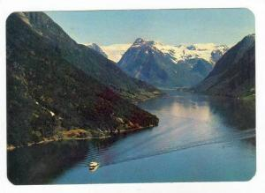 FJAERLANDSFJORD, Aerial View, Snow-Covered Mountains, Background, Norway, 50-70s