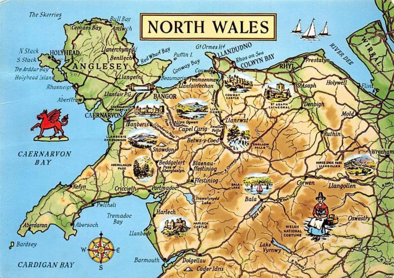 North Wales Map Landkarte Anglesey Caernarvon Bay Cardigan Bay