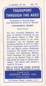 Trade Cards Brooke Bond Tea Transport Through the Ages No 18 Rocket