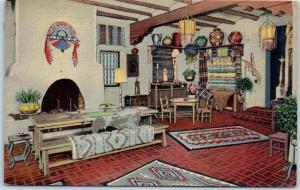 Santa Fe, New Mexico Postcard Corner of the Indian Room, LA FONDA HOTEL Linen
