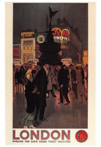 London Postcard GWR Reproduction Advertising Poster, Piccadilly Circus T73