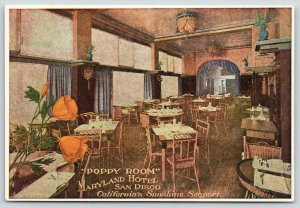 San Diego California~Bird Cage~Interior Maryland Hotel~Poppy Room~c1910 Postcard