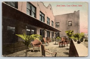 Coeur d'Alene~Hotel Idaho~Spanish Mission~Porch Rocking Chairs~1909 Handcolor