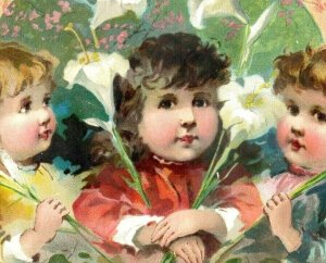 1880s-90s Easter Lion Coffee Woolson Spice Co. Children Lilies Angel Fab! *D