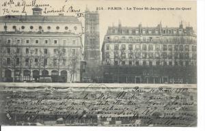 PARIS, France, PU-1903; La Tour St. Jacques Vue Du Quai