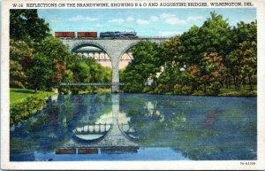 Wilmington Delaware Postcard 1930s Brandywine River B&O Train Bridge Linen ND