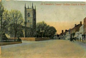 In Constable's Country Dedham Church & Street Horse Carriage Ride Postcard