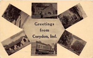 G25/ Corydon Indiana Postcard 1912 6View Railroad Depot Capitol Stores