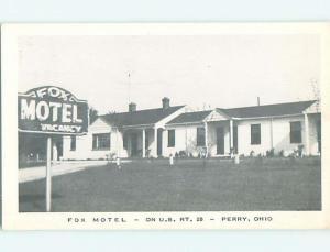 Unused 1940's FOX MOTEL Perry Ohio OH s4800@