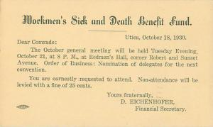 Utica, NY Workmen's Sick and Death Benefit Club Meeting Reminder 1930 Postcard