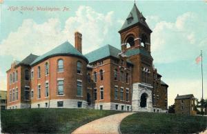 Washington Pennsylvania~High School~Hilltop~Buildings Behind~1909 Postcard