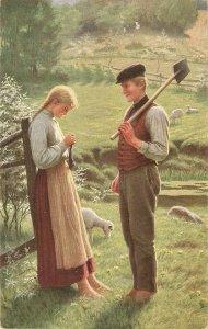 Adolf Hering.  Peasant couple. Eine Frage Fine painting, vintage German PC