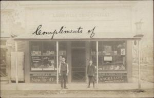 Louisville IL Drug Store Co Beautiful Storefront w/ Signs Real Photo Postcard
