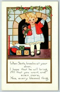 Poem~Little Girl Waves @ Santa By Fireplace~Holds Dolly~Embossed~Whitney Made PC