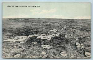 Postcard IL Illinois Antioch Aerial View Map of Lake Region c1910s AG13