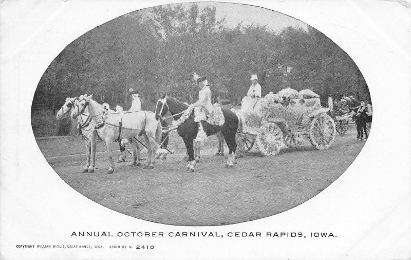 Cedar Rapids IA~Black Leads White Horses & Float~Annual October Carnival~1906