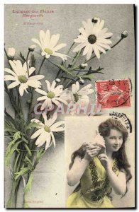 Old Postcard Fancy Language of Flowers Marguerite