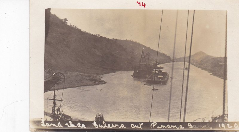RP: Dredge boat at work , Culebra Cut , Panama Canal , 1920