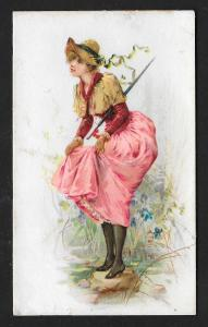VICTORIAN TRADE CARD Stock Card Pretty Lady on Rock in Stream