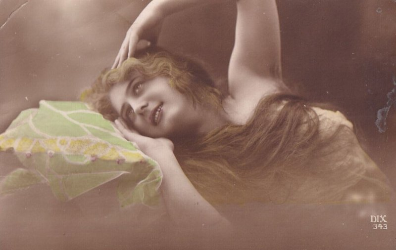 RP: Woman with long hair daydreaming, 1900-10s