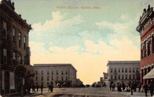Galion Ohio Public Square Street View Antique Postcard K85596