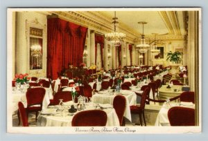 Chicago IL-Illinois, Victorian Room at Palmer House, Advertising Linen Postcard