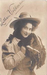 Lillian Volkman Actress Autographed RPPC Postcard to Limerick ME 1909