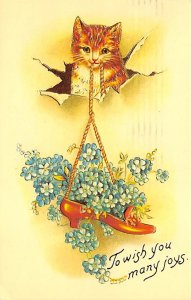 Cat Post Card To wish you many joys Reproduction 1988
