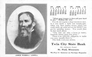 St Paul MN~Twin City State Bank~Jan Feb Calendar~James R Lowell~Bible Verse~1911