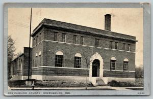 Greensburg Indiana~National Guard Armory~1940s Silver Border Wayne Postcard