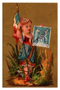 France  Stamp, Flag, Girl   Victorian Philatelic Trade Card