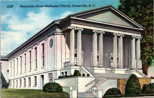 Greenville SC Buncombe Street Methodist Church Postcard unused 1930s/40s