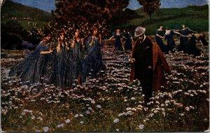 WOMEN IN FIELD WITH Purple Dresses - VINTAGE  - Postcard