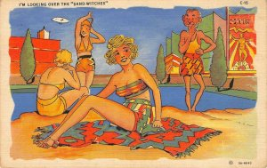 Sand-Witches RAY WALTERS Comic Bathing Beauties C-15 Beach Vintage Postcard