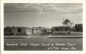 Miami FL Rainbow End Motor Court US94 Real Photo Postcard