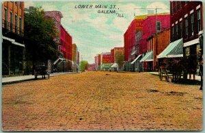 Galena, Illinois Postcard LOWER MAIN STREET Downtown Scene c1910s Unused