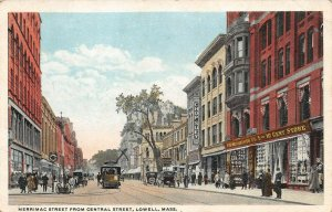 LPS68 Lowell Massachusetts Merrimac Street from Central Street Vintage Postcard