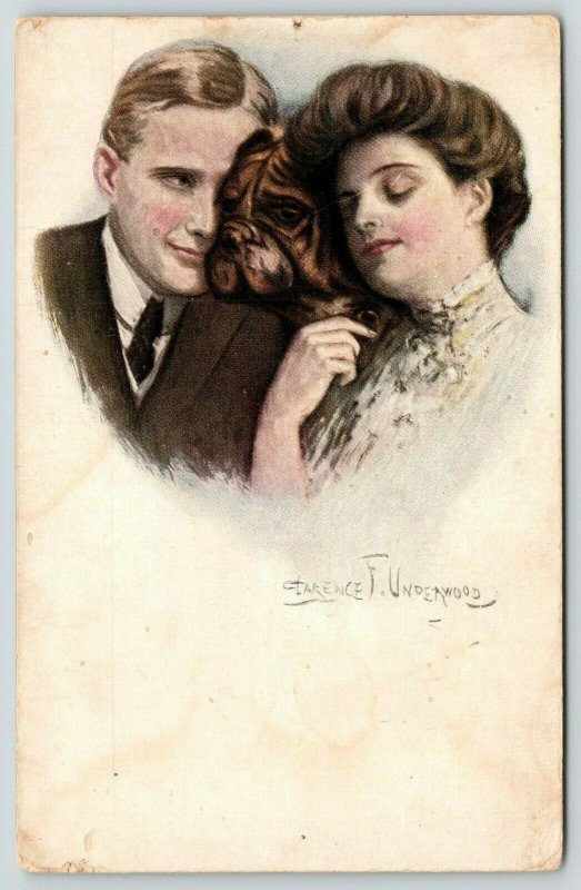 Clarence F Underwood~Lovely Lady & Gent Cuddle Heads~Bulldog Face Between~1908