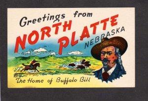 NE Greetings From North Platte Nebraska Buffalo Bill Cowboy Postcard W Cody