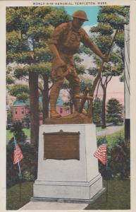 World War WW1 WW2 Memorial Templeton Mass Calafornia Postcard