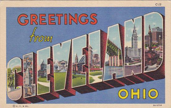 Large Letter Greetings , CLEVELAND , Ohio , 30-40s