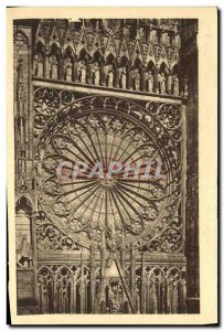 Old Postcard Cathedarle Strasbourg The rose the great Portal