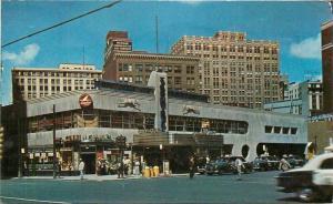 Airlines Terminal Greyhound Bus 1954 Postcard Detroit Michigan autos 4618