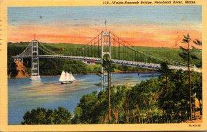 Maine Penobscot River Waldo-Hancock Bridge 1952 Curteich