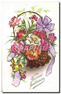 Old Postcard Fantasy Flowers Happy Birthday
