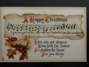 A HAPPY CHRISTMAS I GIVE YOU GREETINGS Embossed c1909 Postcard Raphael Tuck 1821
