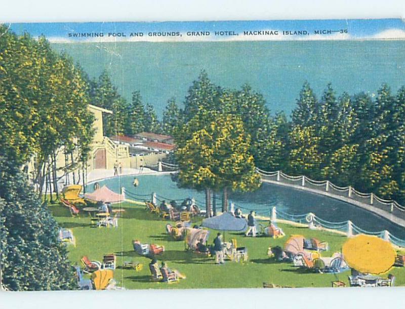 Linen Swimming Pool At Grand Hotel Mackinac Island Michigan Mi B2888 Hippostcard