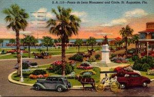 Florida St Augustine Ponce de Leon Monument and Circle 1957 Curteich