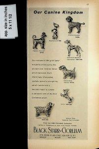 1958 Black Starr Gorham Canine Kingdom Jewelry Vintage Print Ad 7693