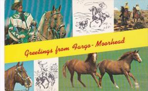 North Dakota Greetings From Fargo Showing Horses